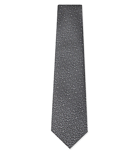 LANVIN Block print silk tie (Grey
