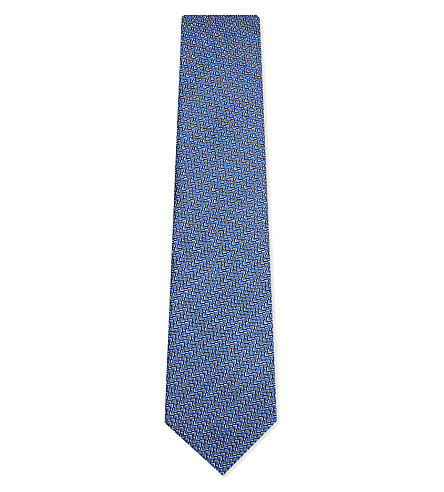 LANVIN Arrow line print silk tie (Blue