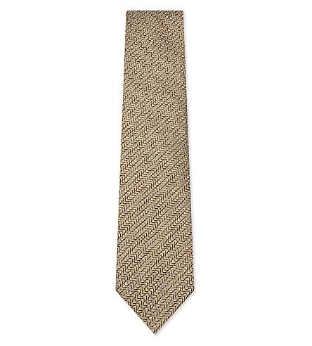 LANVIN Arrow line print silk tie (Gold