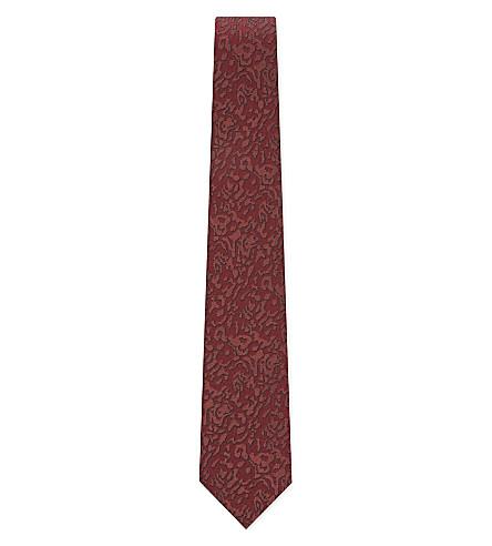 LANVIN Floral jacquard silk tie (Burgundy