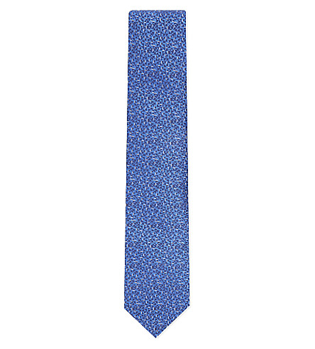 LANVIN Multicoloured geometric silk tie (Brt+blue