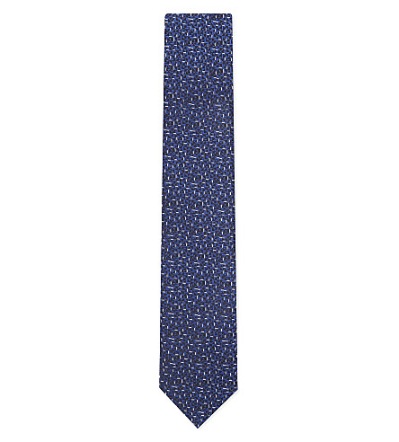 LANVIN Multicoloured geometric silk tie (Navy
