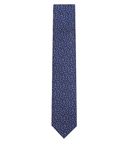 LANVIN Multicoloured geometric silk tie (Navy
