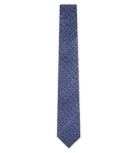 LANVIN Chevron silk tie (Blue