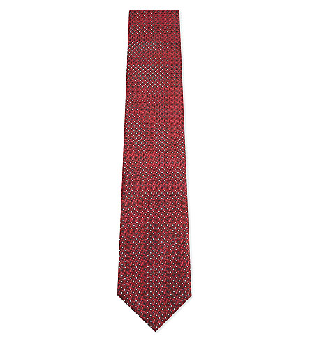 LANVIN Geometric diamond-spot silk tie (Red