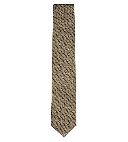 LANVIN Multi-logo silk tie (Gold