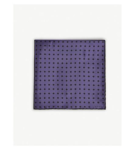 LANVIN 四平方圆点真丝口袋正方形 (紫色