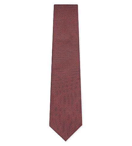 LANVIN Diamond and micro-dot silk tie (Red
