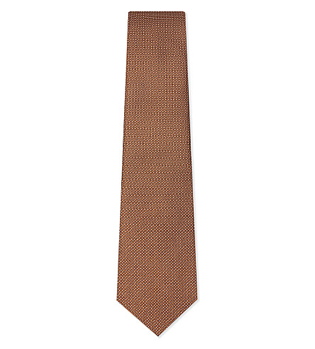LANVIN Microdot print silk tie (Orange