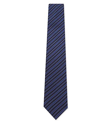 LANVIN Horizontal stripe silk tie (Blue
