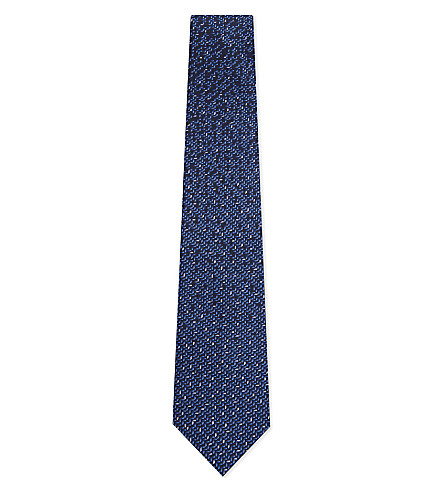 LANVIN Multi-square silk tie (Blue