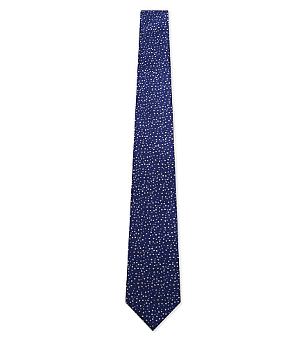 LANVIN Triangle-dot silk tie (Blue