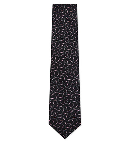 LANVIN Flamingo silk tie (Black