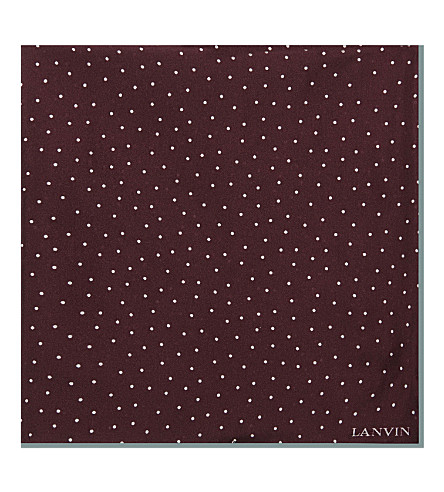 LANVIN Polka dot silk pocket square (Bordeux