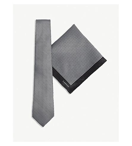LANVIN Block print silk tie and pocket square set (Black