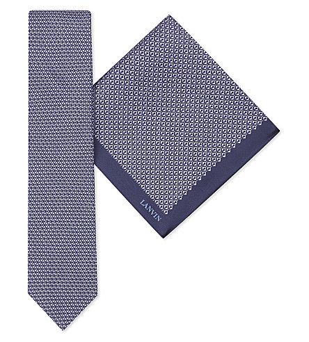LANVIN Diamond-print silk tie and pokcet square set (Violet