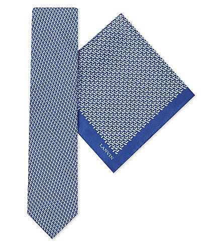 LANVIN Multi-square silk tie and pocket square set (Blue