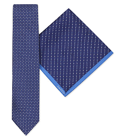 LANVIN Circle and triangle-print silk tie and pocket square set (Navy