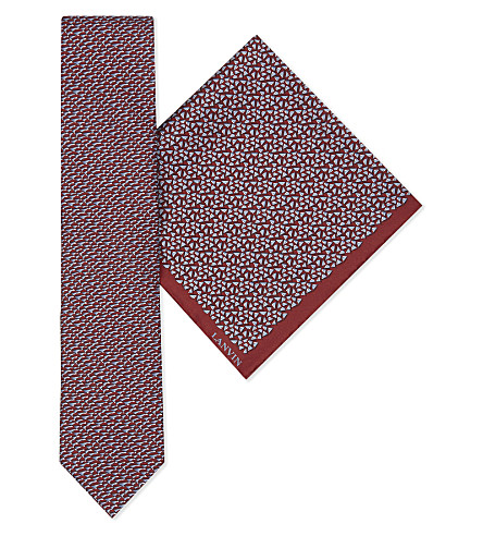 LANVIN Multi-triangle silk tie and pocket square set (Burgundy