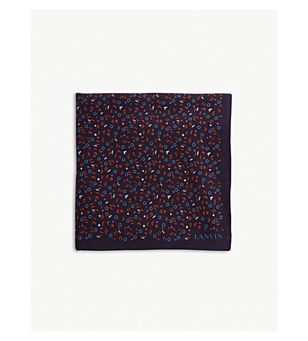 LANVIN Pick 'n' Mix silk pocket square (Purple
