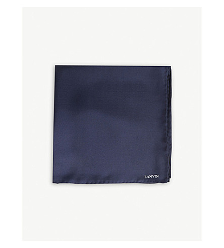 LANVIN Silk pocket square (Navy