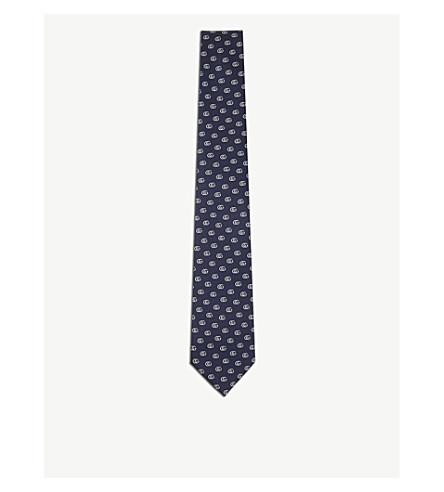 GUCCI GG silk tie (Navy+ivory
