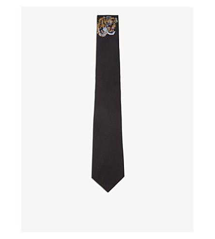 GUCCI Tiger solid twill-silk tie (Black