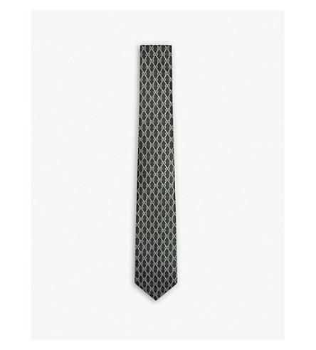 GUCCI Logo silk tie (Green+ivory