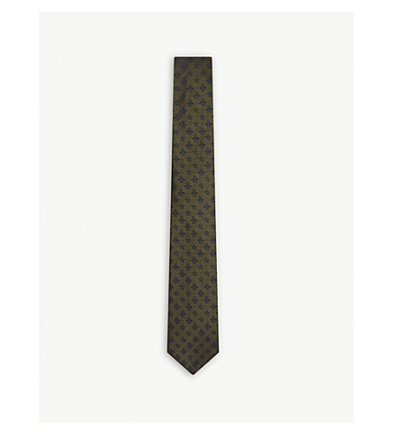 GUCCI Bee and stars print silk tie (Loden/blue
