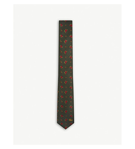 GUCCI Rosebud silk tie (Green/red