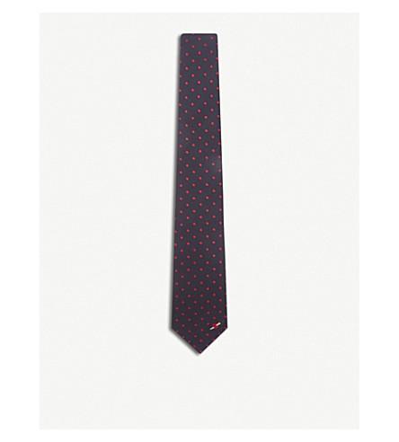 GUCCI Polka dot silk tie (Midnight+pink