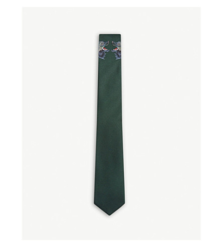 GUCCI Facing wolves print silk tie (Green+bottle