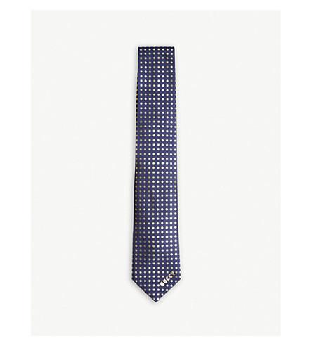 GUCCI Mini star 'guccy' silk tie (Gold+blue