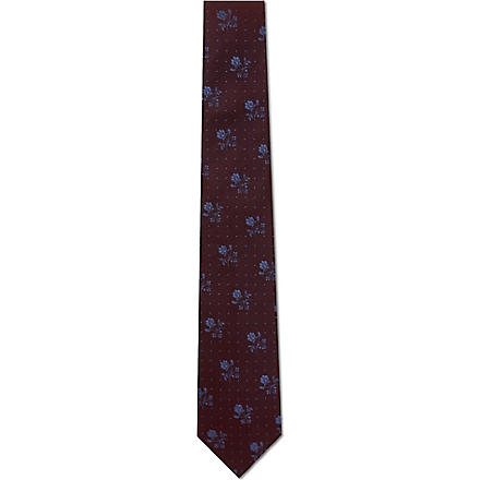 PAUL SMITH Floral pin dot silk tie (Burgundy