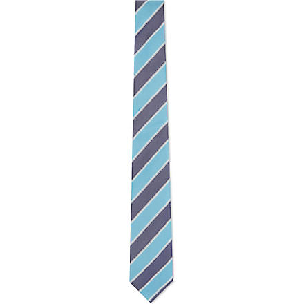 PAUL SMITH Grained bar stripe silk tie (Blue