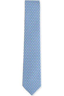FERRAGAMO Horseshoe and flower-printed silk tie