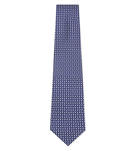 SALVATORE FERRAGAMO Cherry silk tie (Navy