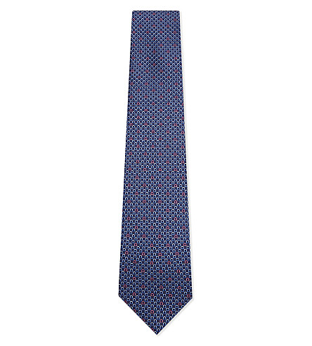 SALVATORE FERRAGAMO Highlighted Gancho silk tie (Blue