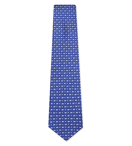 SALVATORE FERRAGAMO Micro turtle silk tie (Bright+blue