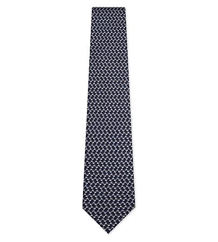SALVATORE FERRAGAMO Dog print silk tie (F.marine/rosso