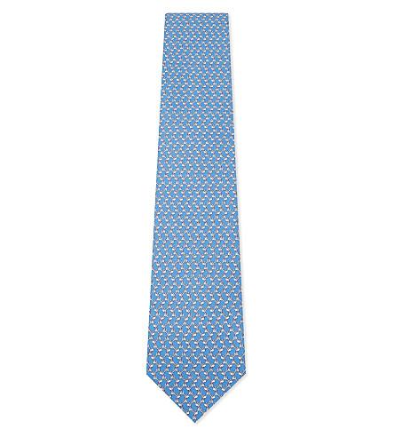 SALVATORE FERRAGAMO Dog print silk tie (F.azzurro