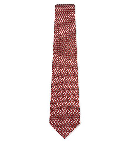 SALVATORE FERRAGAMO Dog print silk tie (F.rosso