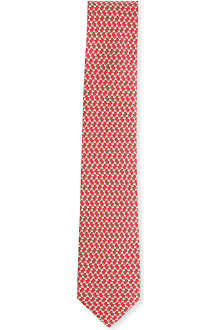FERRAGAMO Cartoon dog-printed silk tie
