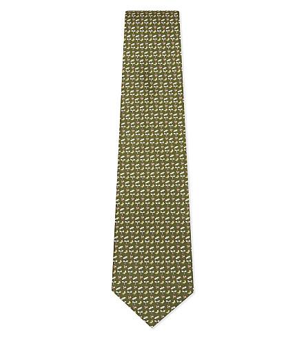 SALVATORE FERRAGAMO Dragonfly silk tie (Green