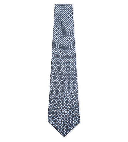 SALVATORE FERRAGAMO Flower and horseshoe silk tie (F.grigio