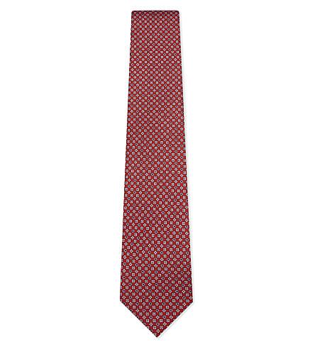 SALVATORE FERRAGAMO Flower and horseshoe silk tie (F.rosso