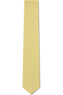 FERRAGAMO Striped boats printed tie