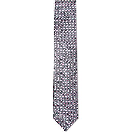 FERRAGAMO Racing horse print tie (Brown