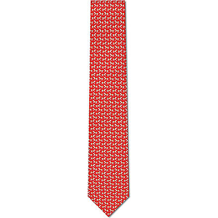 FERRAGAMO Racing horse print tie (Red