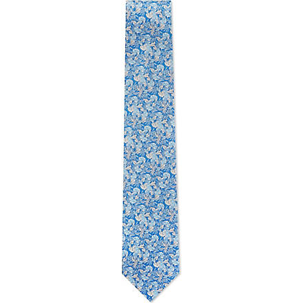 FERRAGAMO Leaves silk tie (Blue
